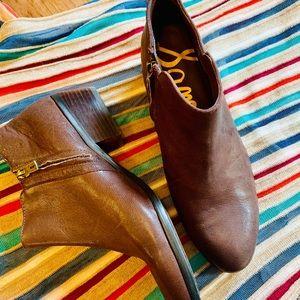 {SAM EDELMAN} Brown Leather Petty Bootie